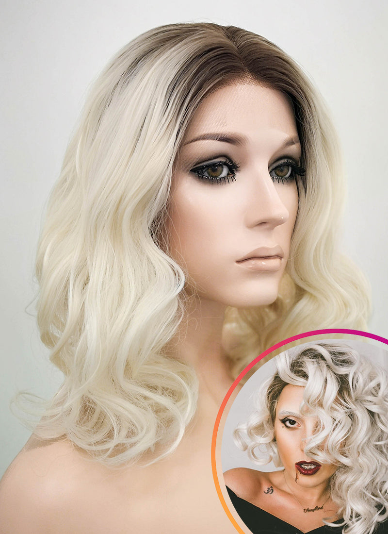 Light Blonde With Dark Roots Wavy Bob Lace Front Synthetic Wig LF771 - Wig Is Fashion Australia