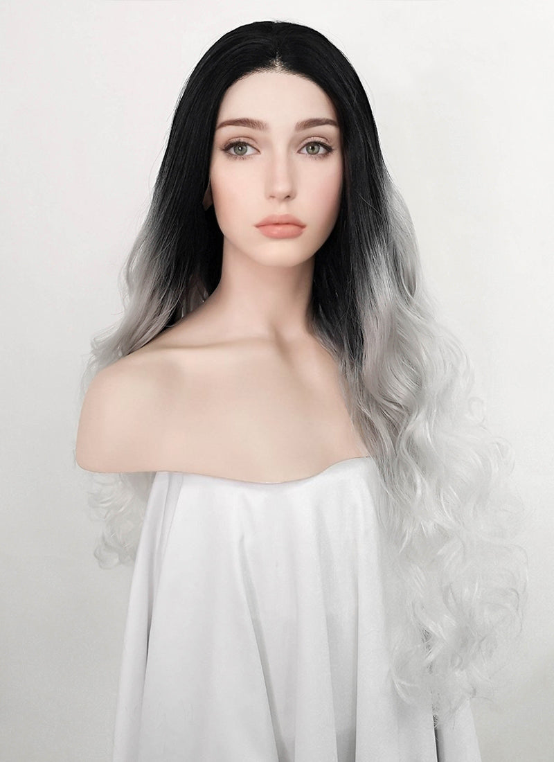 Wavy Black Grey White Ombre Lace Front Synthetic Wig LF781 - Wig Is Fashion Australia