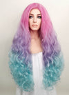 Wavy Magenta Purple Blue Ombre Lace Front Synthetic Wig LF804 - Wig Is Fashion Australia