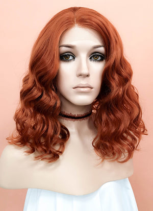 Reddish Orange Wavy Bob Lace Front Synthetic Wig LF831A - Wig Is Fashion Australia