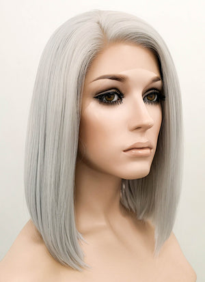 Silver Grey Straight Bob Lace Front Synthetic Wig LF837F - Wig Is Fashion Australia