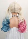 Wavy Blonde Harley Quinn Synthetic Pink Blue Ponytail Lace Front Wig LF853 - Wig Is Fashion Australia