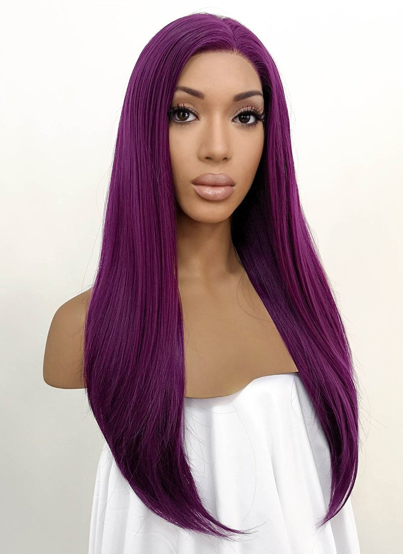 Straight Dark Purple Lace Front Synthetic Wig LFB029 - Wig Is Fashion Australia