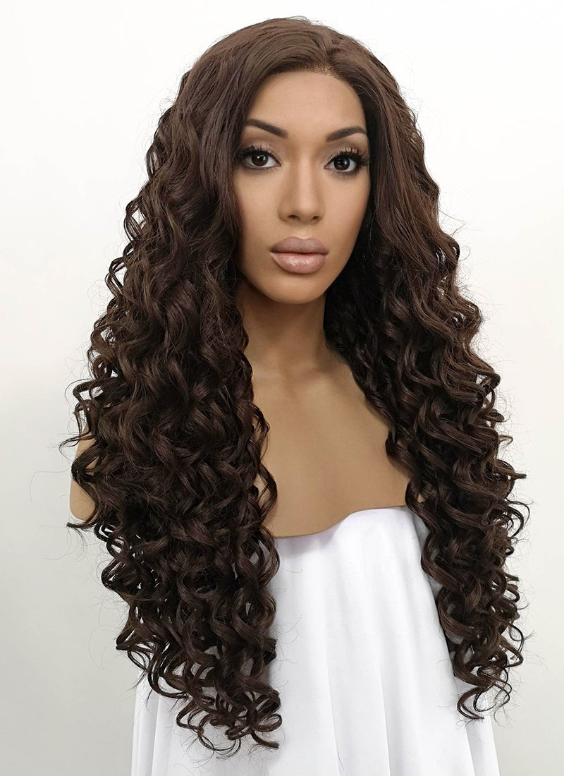 Brunette Spiral Curly Lace Front Synthetic Wig LFB169