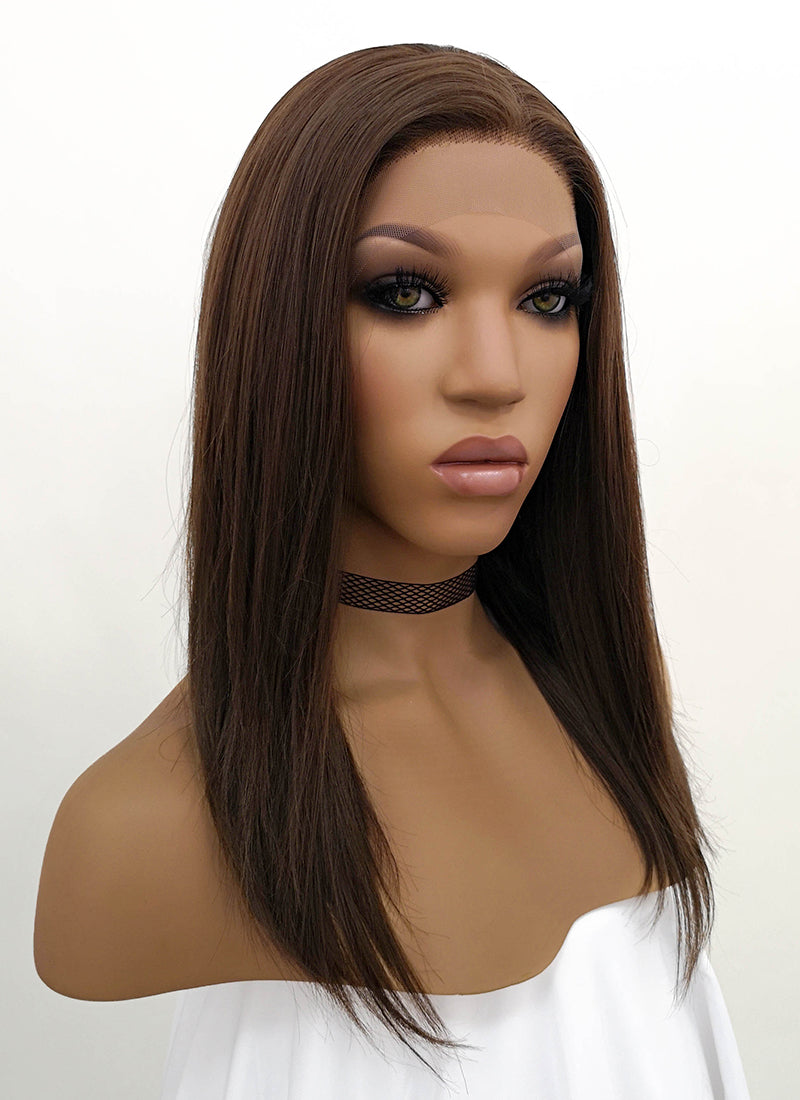 Brunette Straight Bob Lace Front Synthetic Wig LFB265 - Wig Is Fashion Australia