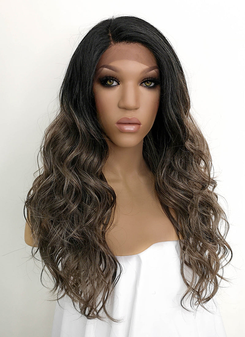 Brunette With Dark Roots Wavy Lace Front Synthetic Wig LFB3124 - Wig Is Fashion Australia