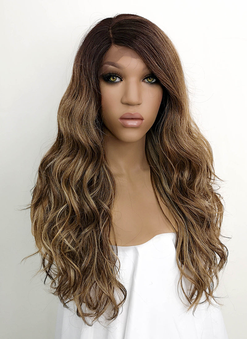 Mixed Brown With Dark Roots Wavy Lace Front Synthetic Wig LFB3125 - Wig Is Fashion Australia