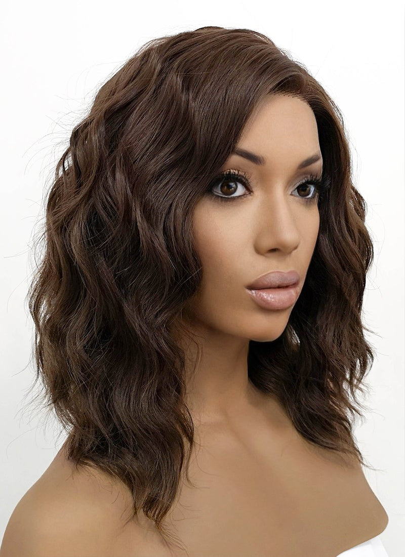 Brunette Wavy Bob Lace Front Synthetic Wig LFB407