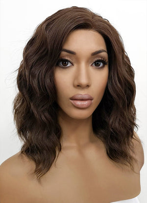 Brunette Wavy Bob Lace Front Synthetic Wig LFB407 - Wig Is Fashion Australia