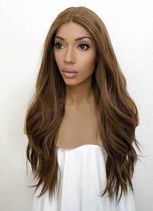 Brunette Wavy Lace Front Synthetic Wig LFB7000