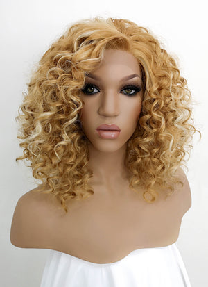 Mixed Blonde Curly Bob Lace Front Synthetic Wig LFB817F