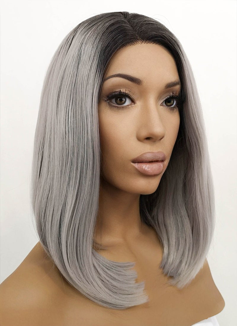 Grey With Dark Roots Straight Bob Lace Front Synthetic Wig LFB837 - Wig Is Fashion Australia