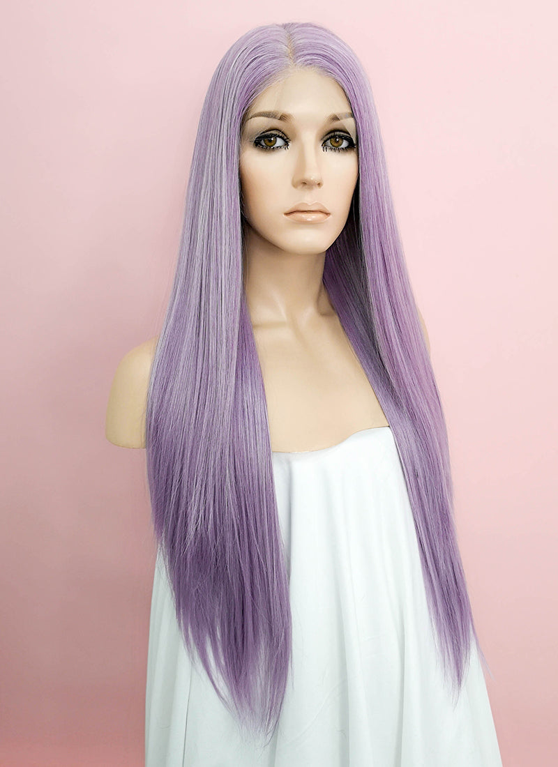 "Pastel Purple Straight 13"" x 6"" Lace Front Synthetic Wig LFK5505 - Wig Is Fashion Australia"