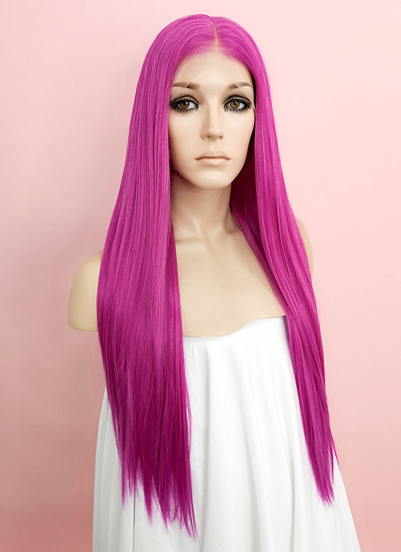 "Magenta Straight 13"" x 6"" Lace Front Synthetic Wig LFK5506 - Wig Is Fashion Australia"