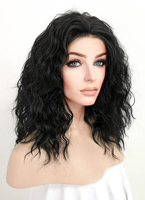 Black Curly Bob Lace Front Synthetic Wig LFK5510A
