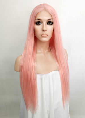 Pastel Pink Straight Lace Front Synthetic Wig LF5523