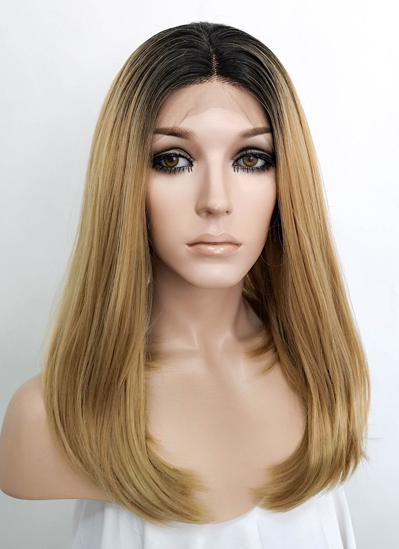 Mixed Blonde With Dark Roots Straight Bob Lace Front Synthetic Wig LFK5526