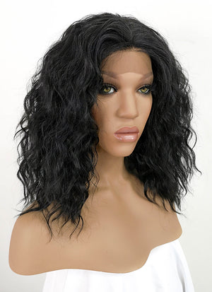 Black Curly Bob Lace Front Synthetic Wig LFKB5510A