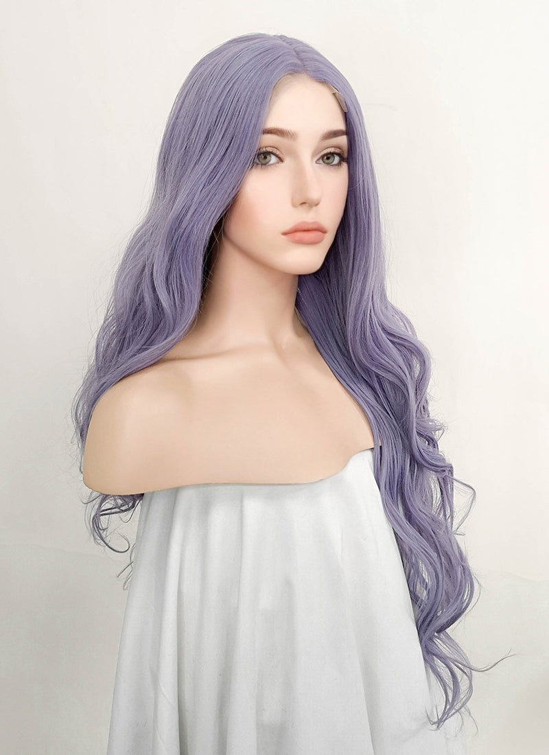 Ash Purple Wavy Lace Front Synthetic Wig LFM001
