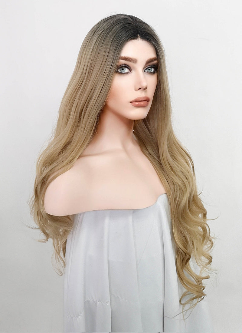 Ash Blonde With Dark Roots Wavy Lace Front Synthetic Wig LFM003