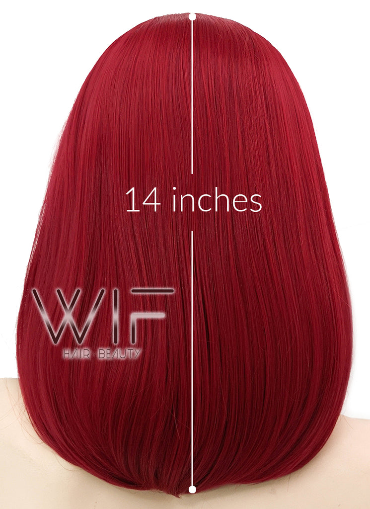 Red Straight Bob Lace Front Synthetic Wig LF819A - Wig Is Fashion Australia