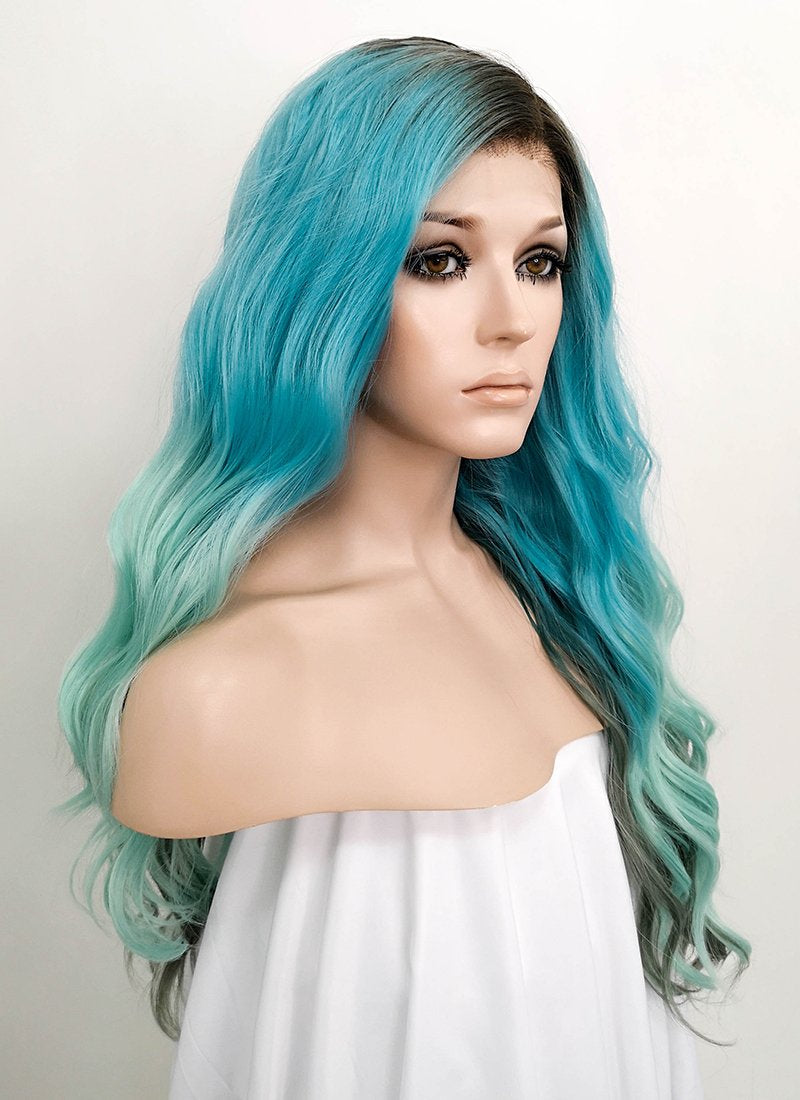 Blue Green Ombre With Dark Roots Wavy 13