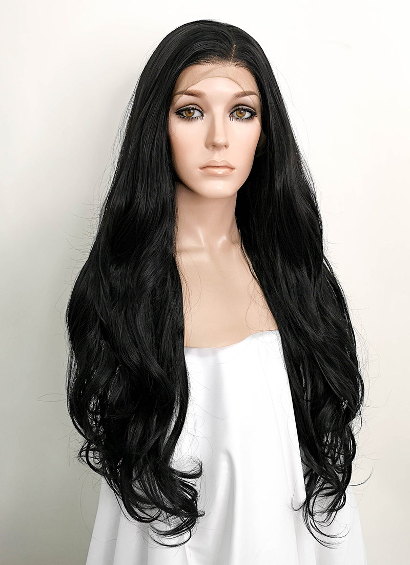 "Black Wavy 13"" x 6"" Lace Front Synthetic Wig LFS004"