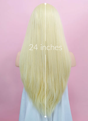 Light Blonde Straight  Yaki Lace Front Synthetic Wig LN6000A - Wig Is Fashion Australia