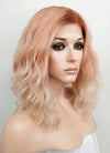 Pastel Peach Pink With Brown Roots Wavy Lace Front Synthetic Wig LN6007 - Wig Is Fashion Australia