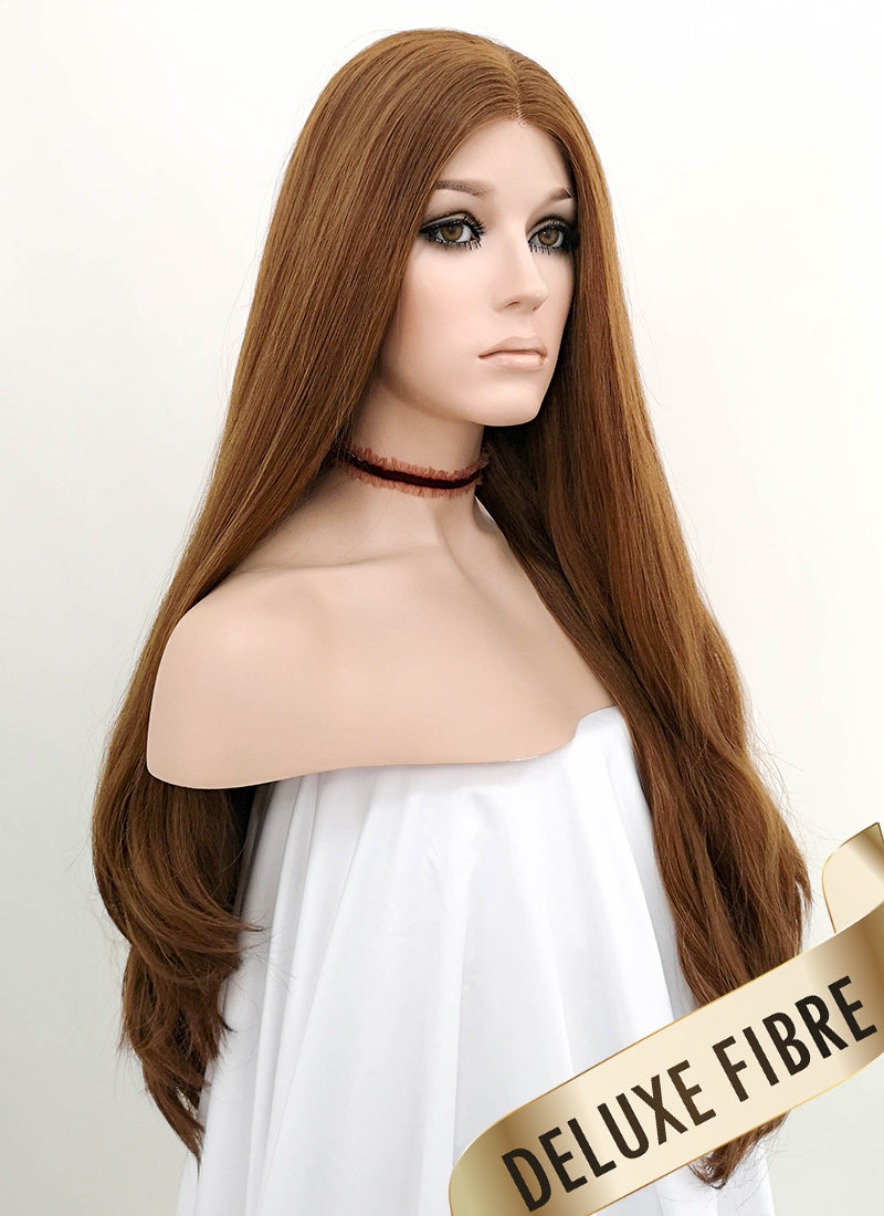 Light Chestnut Brown Wavy Lace Front Synthetic Wig LNK004 - Wig Is Fashion Australia