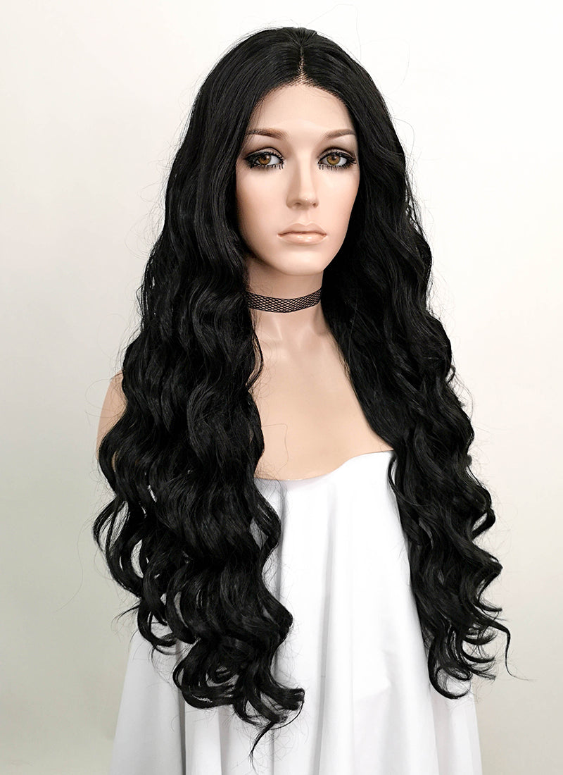 Black Wavy Lace Front Synthetic Wig LNK005 - Wig Is Fashion Australia