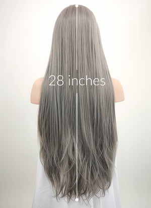 Straight Silver Grey Lace Front Synthetic Wig LW150A - Wig Is Fashion Australia