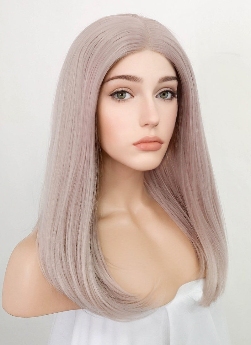 Pastel Pale Plum Straight Bob Lace Front Synthetic Wig LW1514C