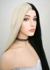 Straight Light Blonde Black Split Color Lace Front Synthetic Wig LW1531 - Wig Is Fashion Australia