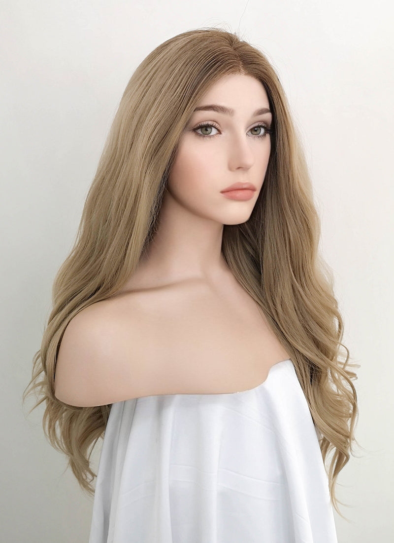 Ash Blonde With Brown Roots Wavy Lace Front Synthetic Wig LW4000 - Wig Is Fashion Australia