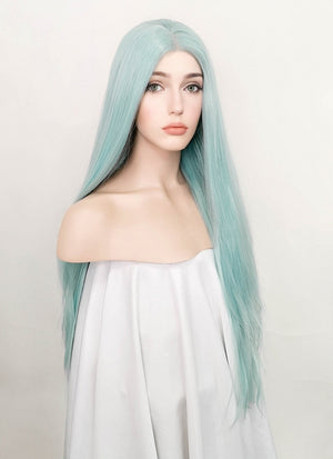 Pastel Coral Blue Straight Lace Front Synthetic Wig LW813 - Wig Is Fashion Australia