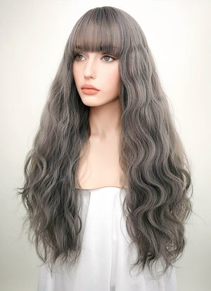 Grey Wavy Synthetic Wig NS027 - Wig Is Fashion Australia