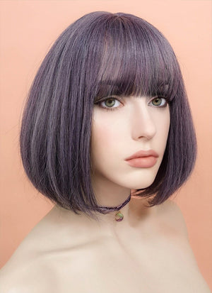 Ash Purple Straight Bob Synthetic Wig NS030 - Wig Is Fashion Australia