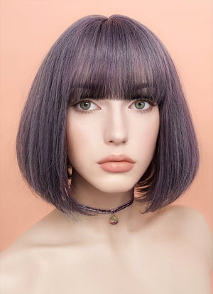 Ash Purple Straight Bob Synthetic Wig NS030