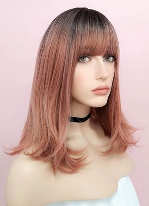Rose Pink With Dark Roots Straight Synthetic Wig NS035 - Wig Is Fashion Australia