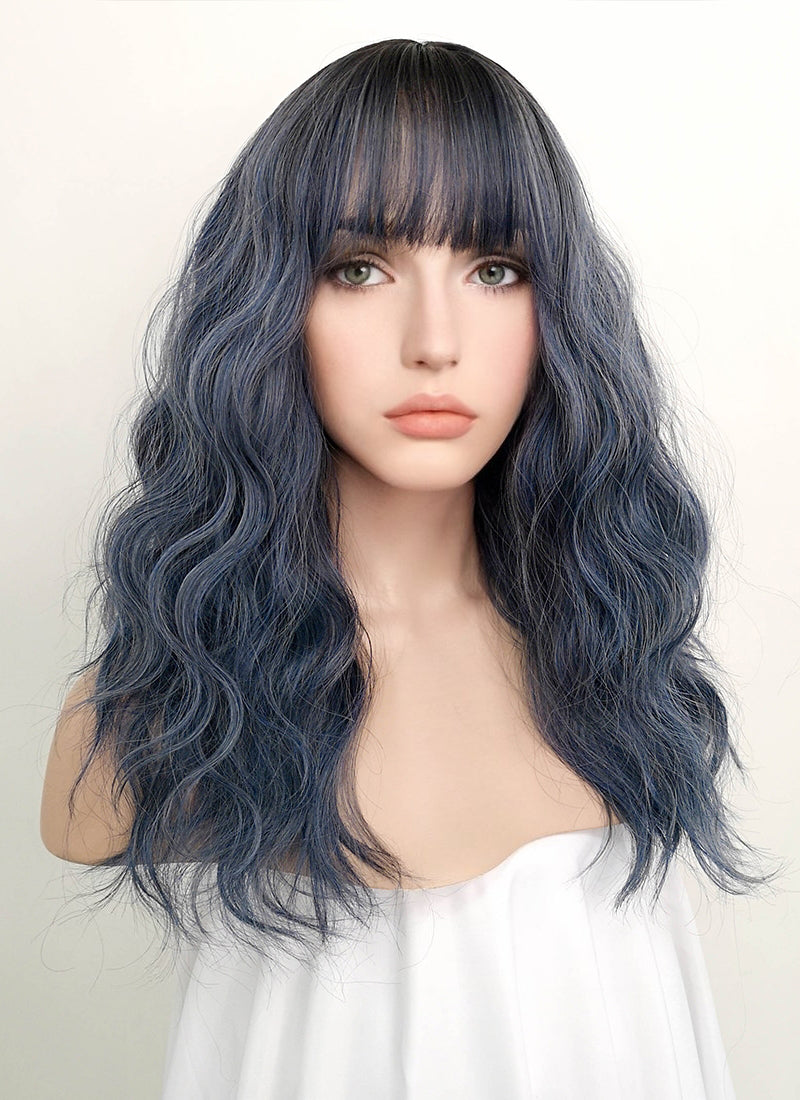 Dark Blue With Dark Roots Wavy Synthetic Wig NS054 - Wig Is Fashion Australia