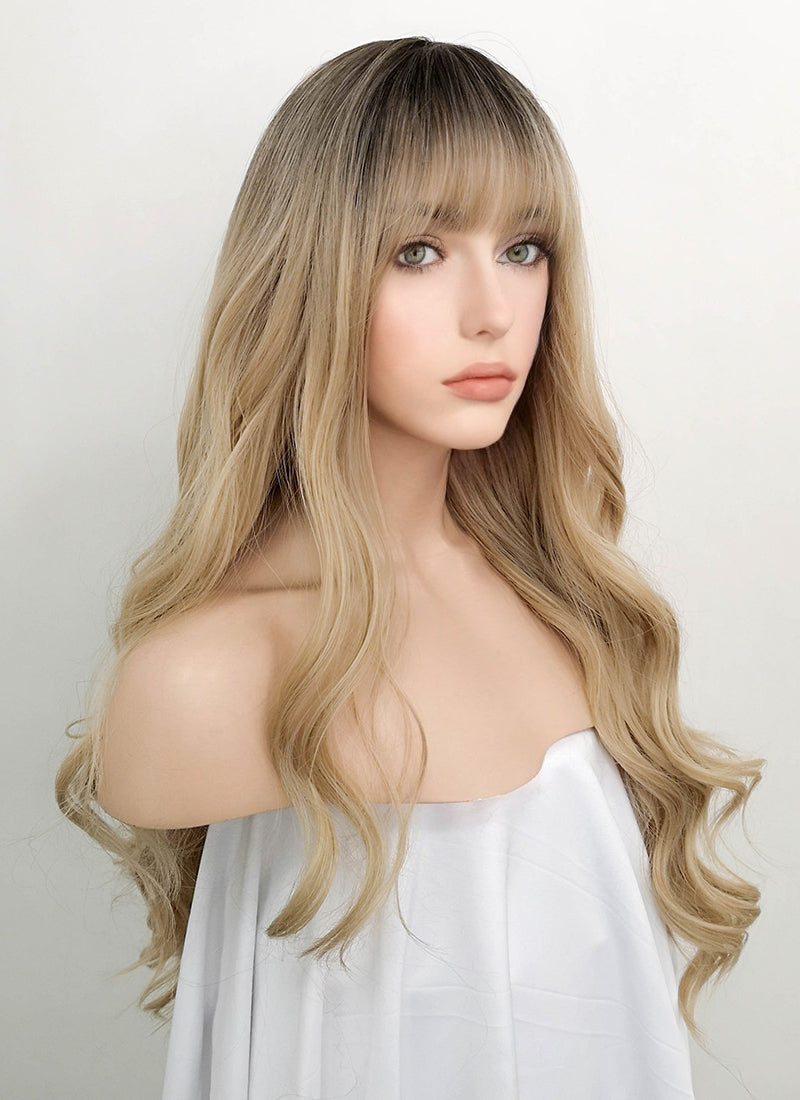 Blonde With Dark Roots Wavy Synthetic Wig NS055 - Wig Is Fashion Australia