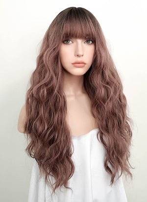 Pale Plum With Dark Roots Wavy Synthetic Wig NS056 - Wig Is Fashion Australia