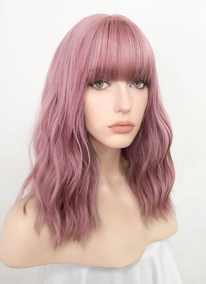 Pink Wavy Bob Synthetic Wig NS063 - Wig Is Fashion Australia