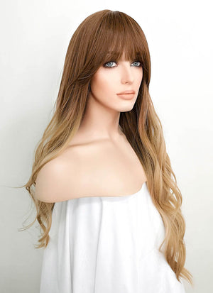 Brown Blonde Ombre Wavy Synthetic Wig NS084