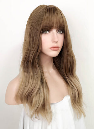 Two Tone Brown Wavy Synthetic Wig NS101