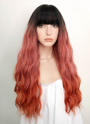 Two Tone Red With Dark Roots Wavy Synthetic Wig NS103