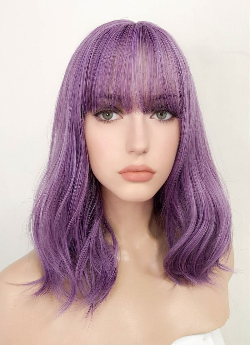 Purple Wavy Bob Synthetic Wig NS130