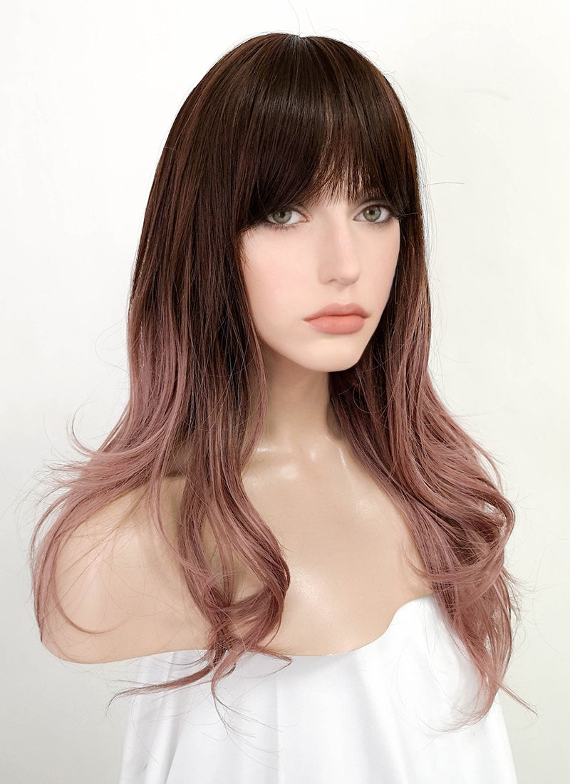 Brown Pink Ombre Wavy Synthetic Wig NS142