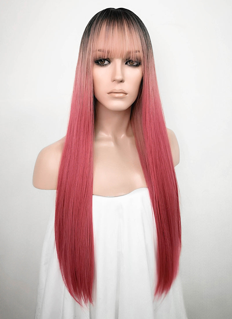 Pink With Dark Roots Straight Synthetic Wig NS162